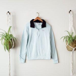 VS PINK Baby Blue Fleece Lined Half Zip Pullover
